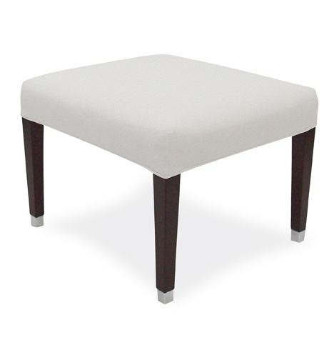 White Ottoman With Four Wooden Legs Square Ottoman Chair
