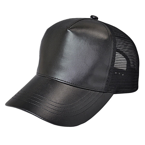 Luxury plain blank curved brim black baseball cap half leather mesh trucker hat