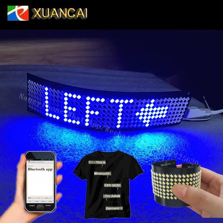 Screen Size 160x28MM P4-7x40 Resolution Rechargeable battery Text Displaying LED flexible Strip for Cloth Hat Shoes