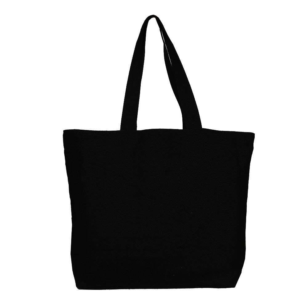 (Black) - Natural Cotton Tote Shopper Bag chic lady shopping hand custom beach bag