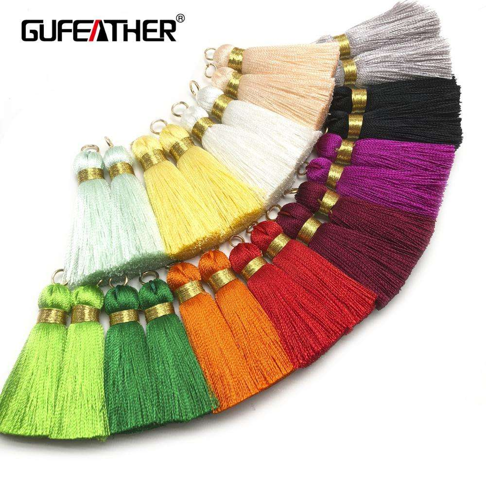 GUFEATHER L114,4CM,Jewelry Accessories Embellishments Silk Tassels With Ring For Earrings Production,4pcs/bag
