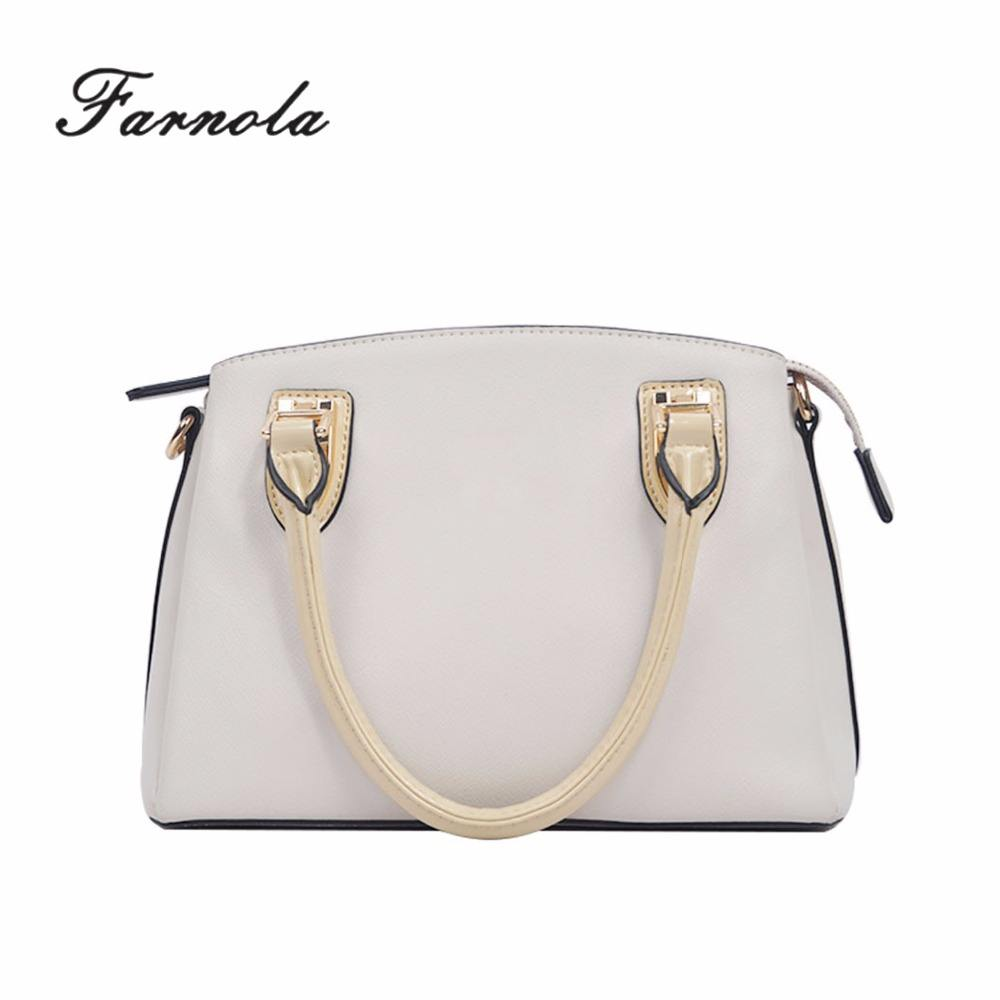Guangzhou factory promotional latest design white genuine leathear handbag