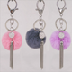 Yongze Soft Rabbit Fur Ball Metal pom pom fur leather tassel keychain fake pompom Key Chains Ball Plush Faux Fur Keychain