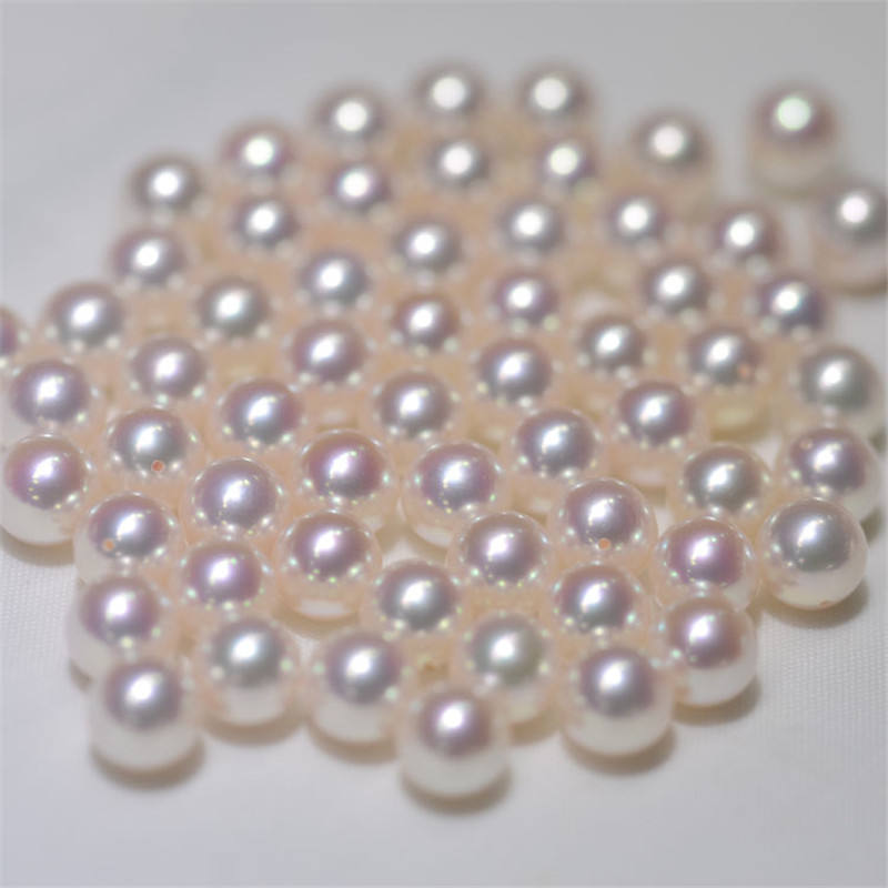 Sea water pearls Akoya AAA 7.5-8mm perfect round half drilled loose pearls