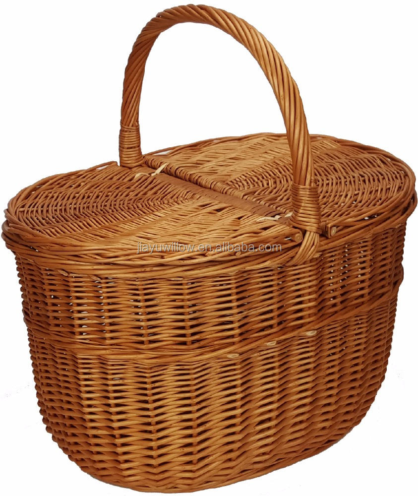 wholesale wicker picnic basket, wicker basket with lids and handle