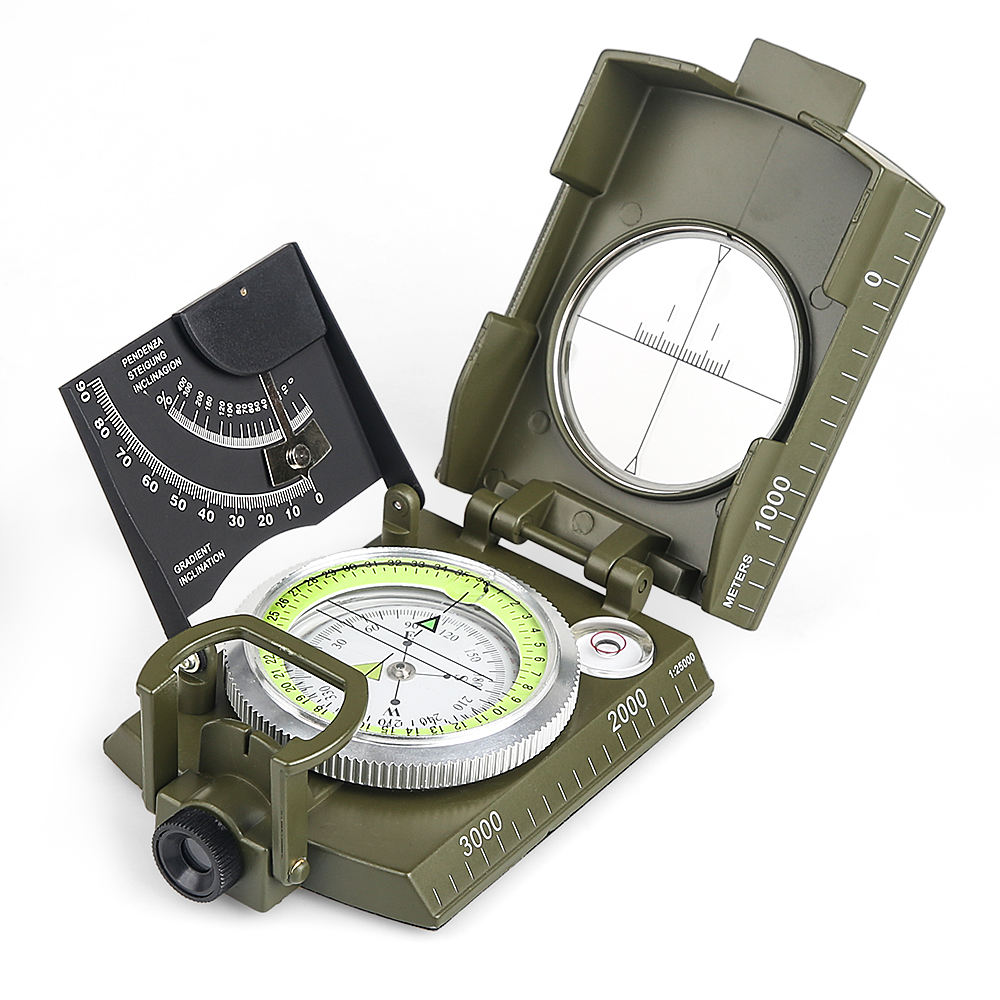 Multifunctional Compass All Metal Military Waterproof High Accuracy Compass with Bubble Level for Outdoor Activities