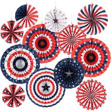 Nicro 12PCS Independence Day 4th July Patriotic Party Paper Fan Decorations Set