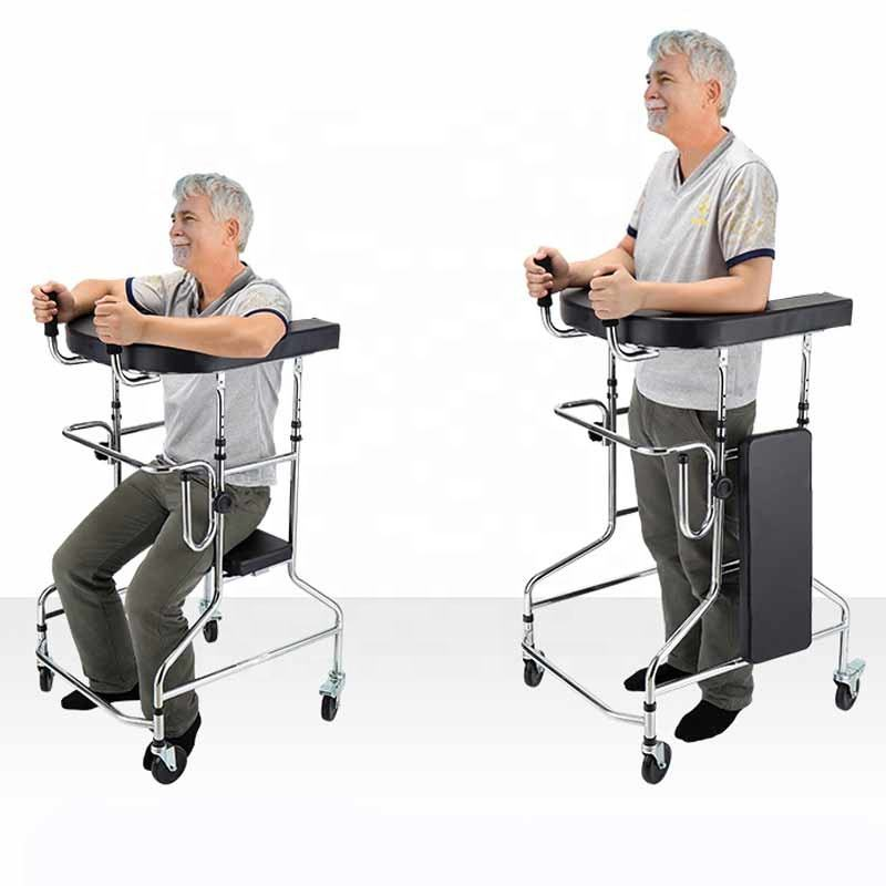 Portable and foldable standing walker for adult Standing frame wheeled hemiplegia patient lower limb rehabilitation training