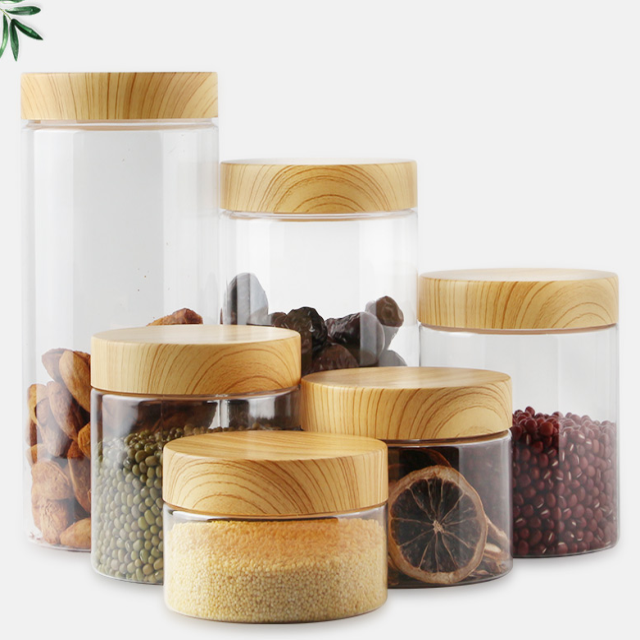 round wood lid pp cap clear pet food grade smooth side bamboo lid cosmetic jars 500ml pet jar, plastic jar wood lid