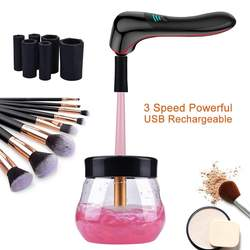 New USB Rechargeable Make up Brush Cleaner Electric Makeup Brush Cleaner Dryer Set With 3 Speeds