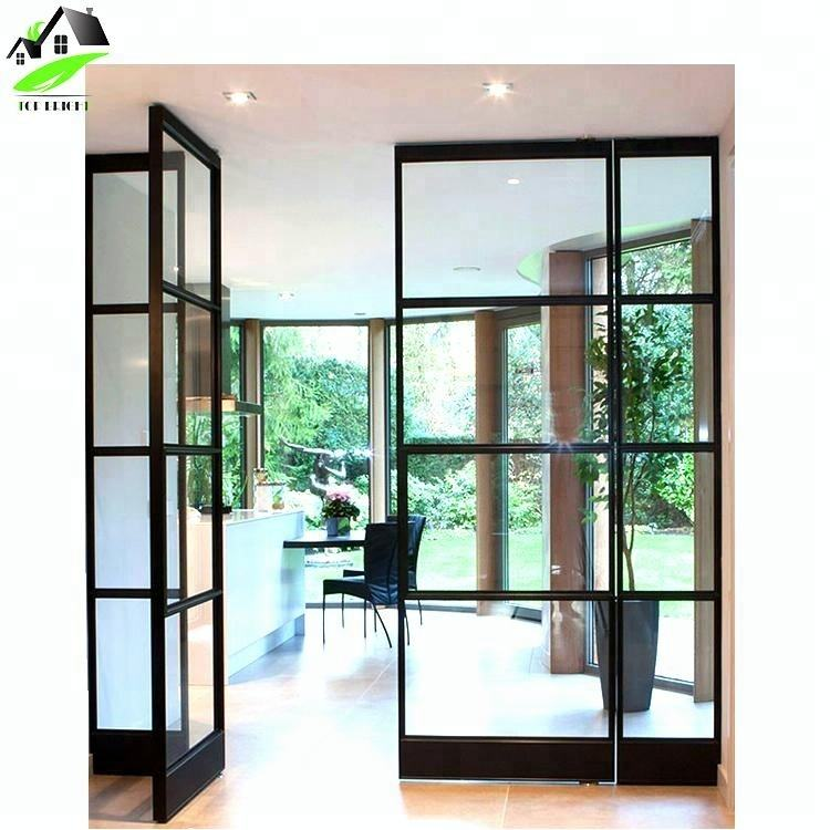 commercial aluminum alloy narrow frame casement tempered glass double entrance front swing door with black grid design