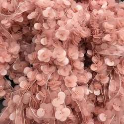 Wholesale decorative jewelry accessories girls pink sequin flower lace trim