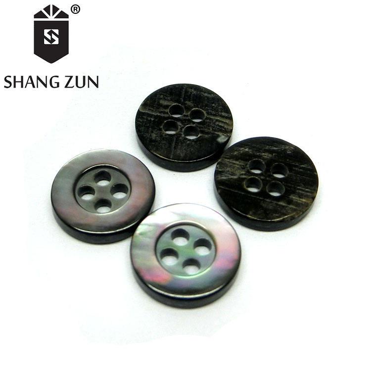 Nero naturale madre di perla pulsante 4 fori rotondi bordo Eco-Friendly tasto di coperture di alta qualità camicia maglia tasto