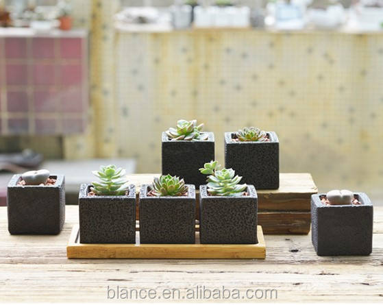 concrete square black flower pots 3pcs a set with bamboo saucer for sale concrete planter mold