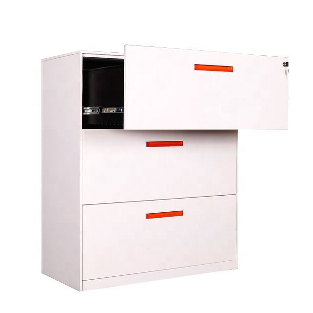 Luoyang office metal furniture 3 drawer sliding metal filing cabinet vertical hanging lateral kd lateral drawer storage cabinet