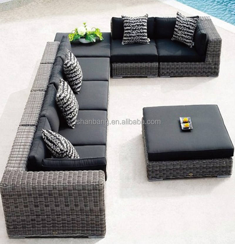 8 seat gray black Modern Outdoor Backyard Wicker Rattan Patio Furniture Sofa Sectional Couch Set
