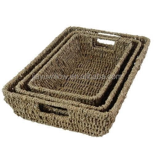 Wholesale Tapered Seagrass Storage Baskets Trays with Handles Home Office
