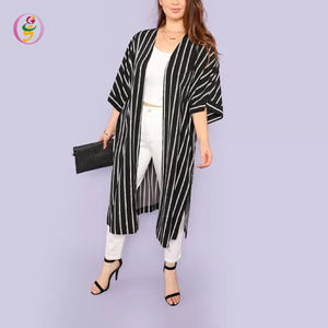 Plus campana mangas Split Side Striped Longline Kimono Fat Ladies Workwear Loose Cardigan