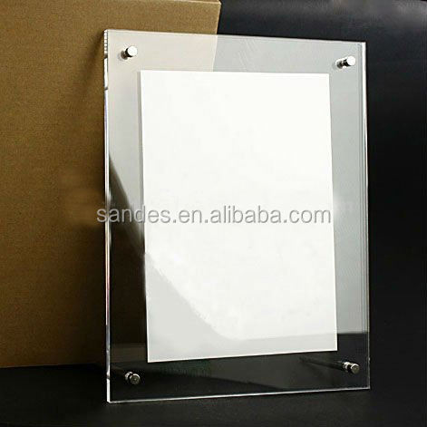 Clear Fancy Transparent Plastic Poster Frame with 4 Magnets in The Corner