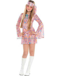 Disco Diva Tienermeisjes 1970 s Fancy Dress 70 s kinderen Kostuum Hippy Kids Outfit BC17154