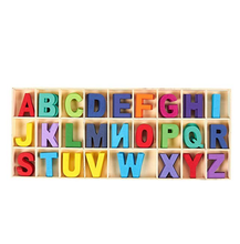 Wooden Letters - Wooden Craft Letters with Storage Tray - Wooden Alphabet Letters Kids Learning Toy - Assorted Colors