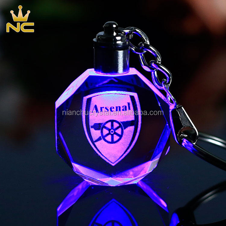 Custom 3D Laser Engraving Photo Gifts Led Crystal Keychain With Logo Print
