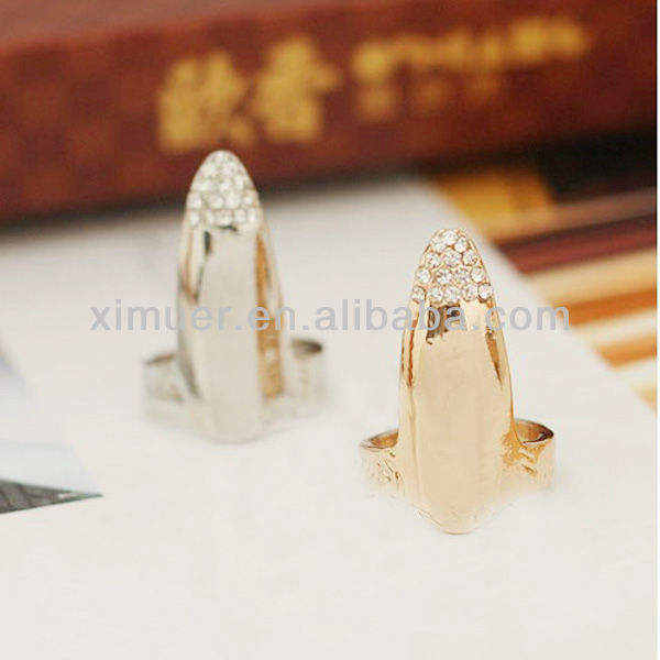 Hot delicate rhinestone nail ring jewelry, finger nail ring