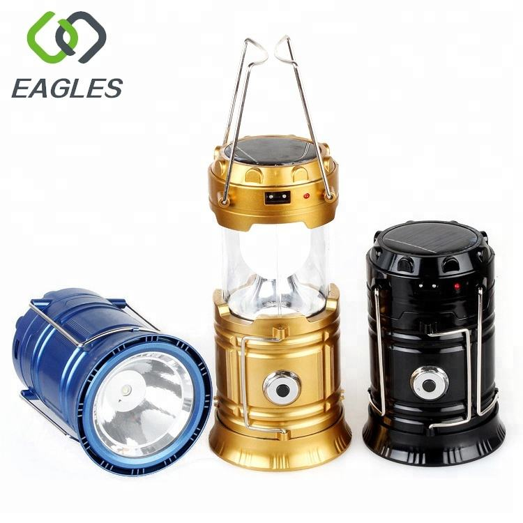 Outdoor ABS Multifunction LED Lanterns IP54 Waterproof Solar 5W Camping Lantern with Handle