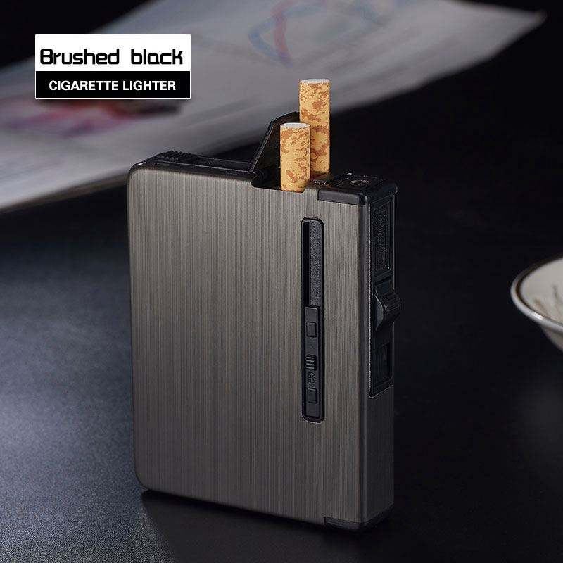 ZCH-016 12pcs capacity creative metal windproof cigarette case with automatic cigarette out gas lighter logo custom wholesale