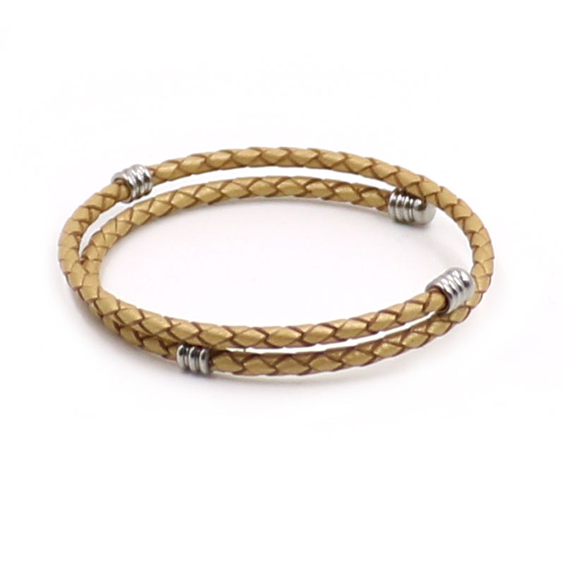 Latest Fashion Jewellery 3mm Size Natural Gold Genuine Leather Adjustable Woven Bracelet, Adjustable String Bracelets
