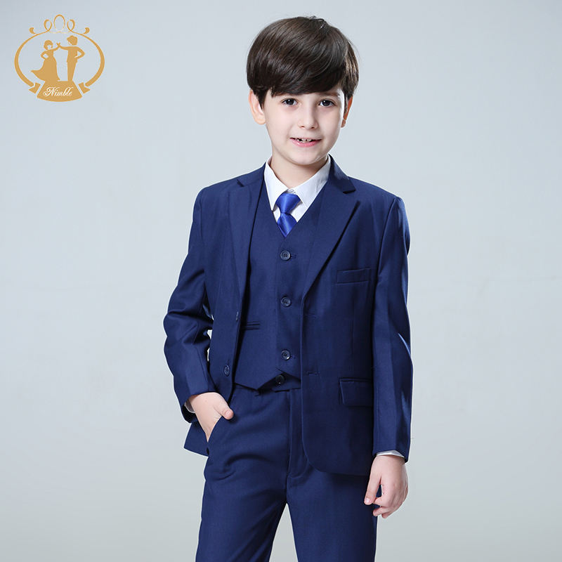 Nimble Top Selling 100%Polyester Stripe Three Pcs Boys Wedding Suits For Children Boys