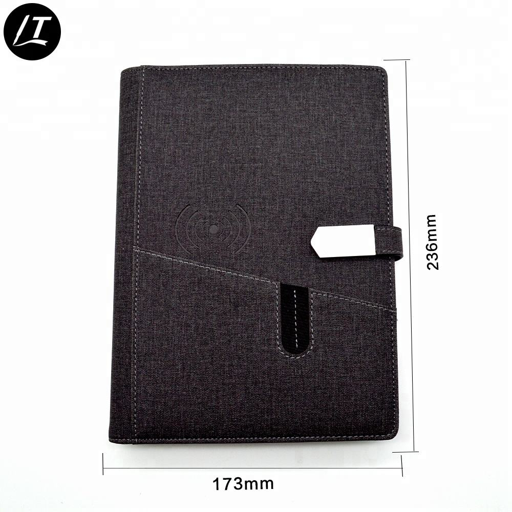 custom a5 size in pu notebook usb with powerbank notebook in leather notebook