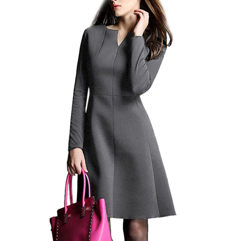 Fashion casual Spring autumn long sleeve semi open neck woven lady women Dresses