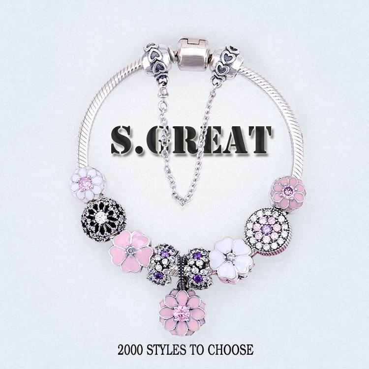 925 pulsera charm fit pandora, encantos pulsera de plata esterlina 925 fit pandora style en fábrica de china