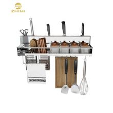 Multifunctional Stainless Steel Wall Shelf for Storage Kitchen Spice Rack With Removable Hooks