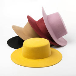 Womens yellow elegant wool felt boater hat wholesale