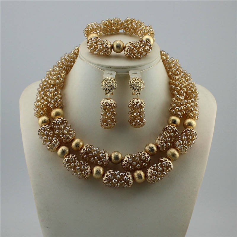 Fashion Elegant Bridal Imitation Pearl Nigerian Wedding African Beads Jewelry Set Crystal Indian Necklace and Earring set