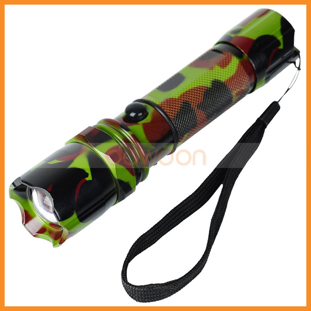 Military Camouflage LED Flashlight 3 Mode Q5 1000 Lumens led Zoomable Torch