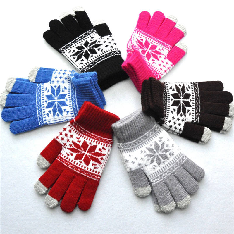 Amazon Hot Koop Unisex Winter Warm Knit Jacquard Sneeuwvlok Maple Leaf Patroon Touch Screen Handschoenen Vijf Vingers 9 Stijlen
