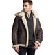 OEM Sheepskin Leather Bomber Jacket with Detachable Hood