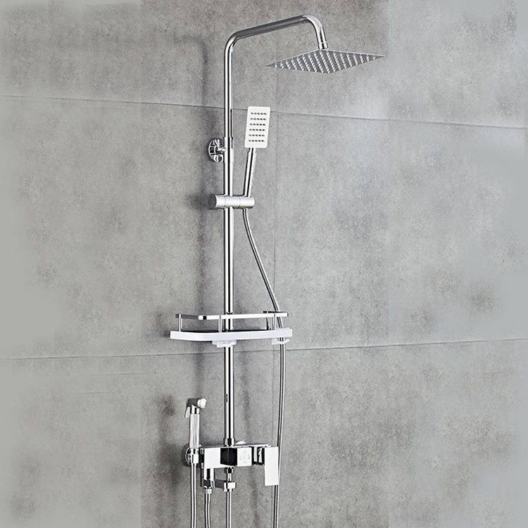 Chrome wall mounted rainfall shower faucet,hand shower set