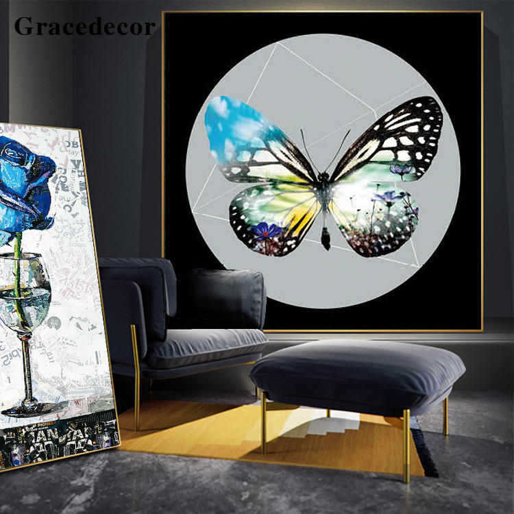 Fine Art Framed Butterfly Home Decor Painting Artwork Wholesale Price