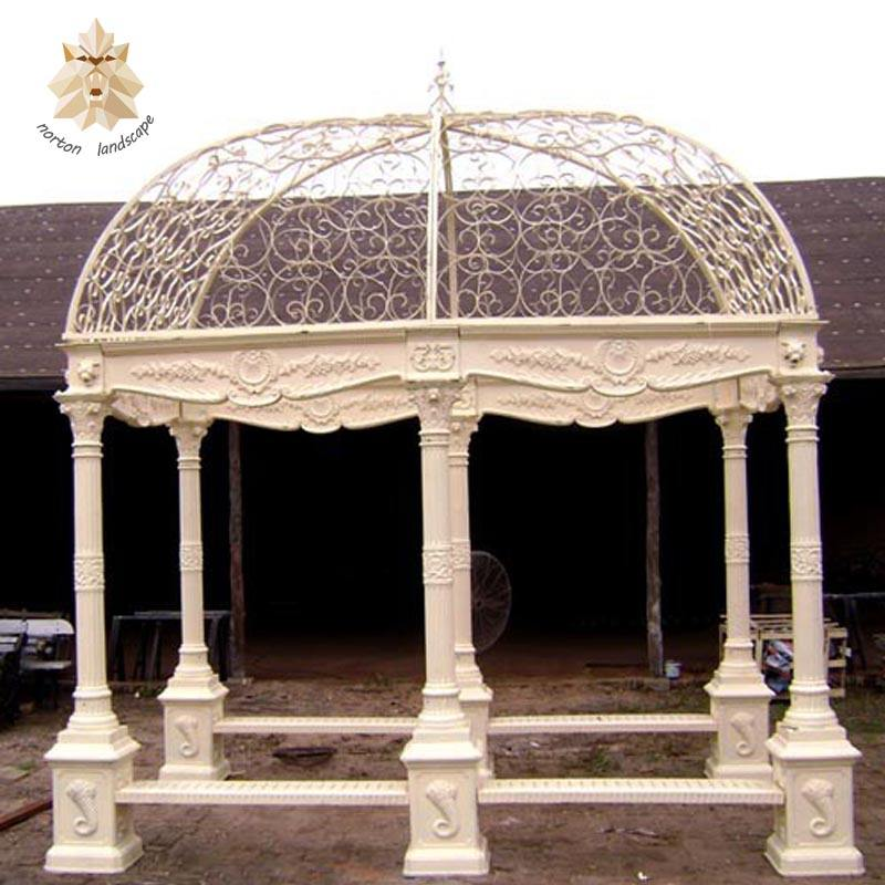 Hand carved garden decoration natural stone marble gazebo NTMG-040Y