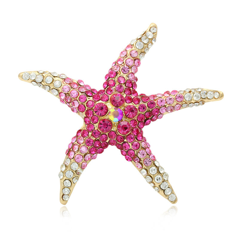 New Design Super Sweet Pink Starfish Rhinestone Brooch For Women Or Girls