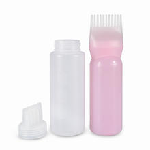 6oz 120ml plastic Hair Dye Dispensing oil Applicator Bottle with Brush for Salon