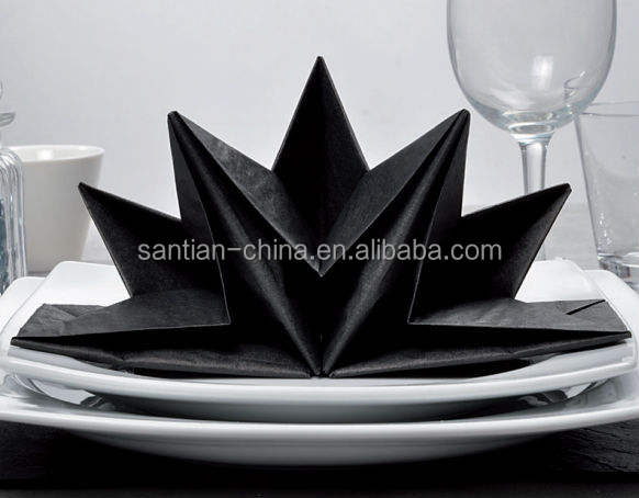 3 Layer Black Pre Fold Dinner Party Tissue Paper Napkin