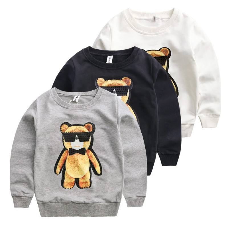 100% Fleece Boys Custom Children Sweatshirts Without Hood Made In China