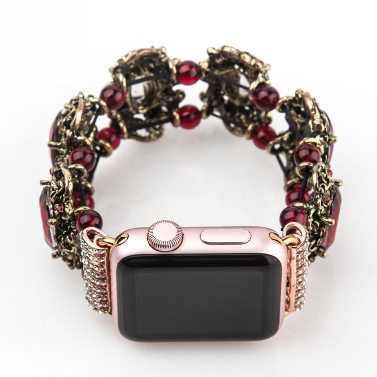 Luxurious Red and Champagne Gems 38mm/42mm Rubine Jewelry Watch Band with Adapter for Apple Iwatch Band Strap Girls Love it