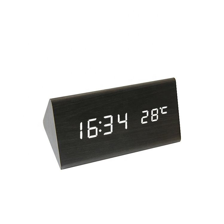 Touch sensing USB Power wood table digital alarm clock,Hotel bedroom clock