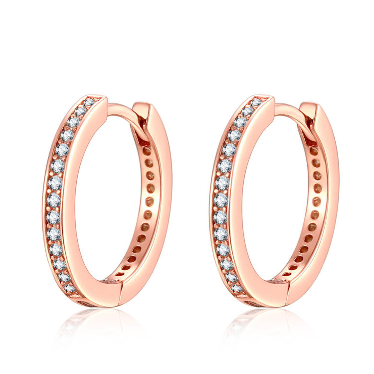 Chinese Manufacturer Qings 925 Sterling Silver Rose Gold Plated Hoop Earrings